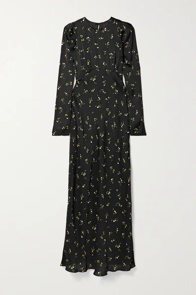 Floral-print Satin Maxi Dress - Black