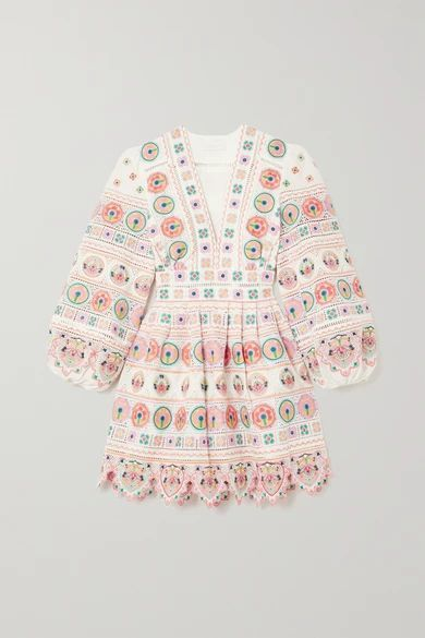 Brighton Scalloped Embroidered Cotton Mini Dress - Ivory