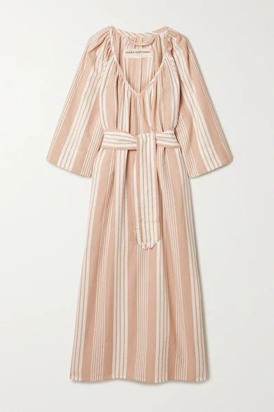 + Net Sustain Luz Striped Tencel Lyocell And Organic Cotton-blend Midi Dress - Sand