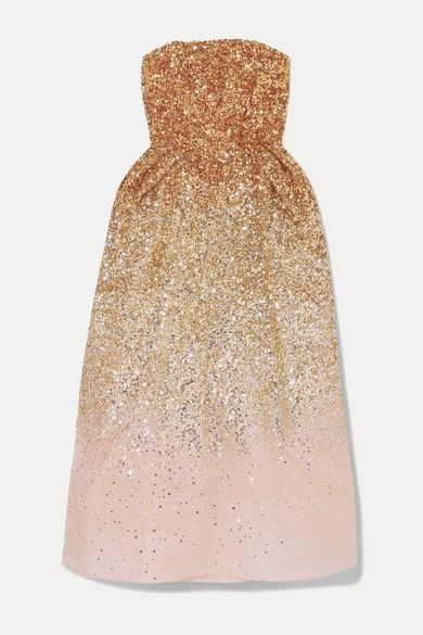 Ofelia Sequined Silk-organza Midi Dress - Gold