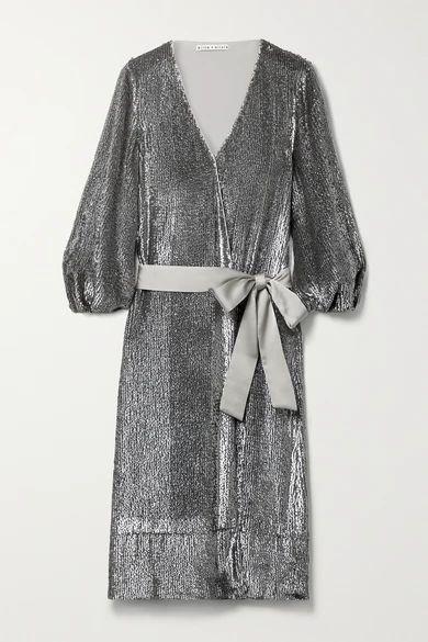 Anne Satin-trimmed Sequined Crepe De Chine Wrap Midi Dress - Silver