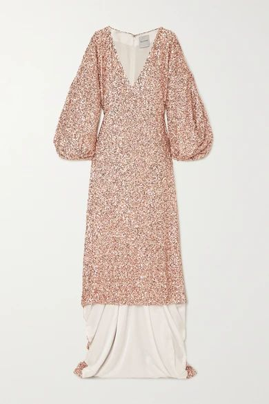 Sequined Georgette Gown - Blush