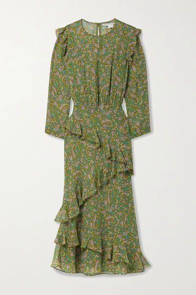 Tenise Ruffled Printed Silk-chiffon Midi Dress - Green