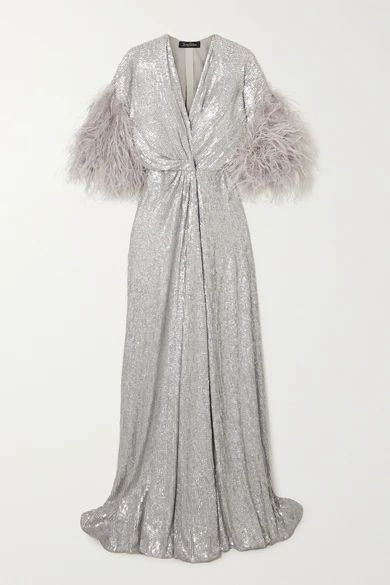 Camelot Feather-trimmed Sequined Georgette Wrap Gown - Silver