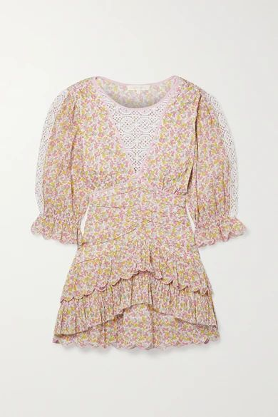 Marquise Crochet-trimmed Tiered Floral-print Cotton-voile Mini Dress - Pink