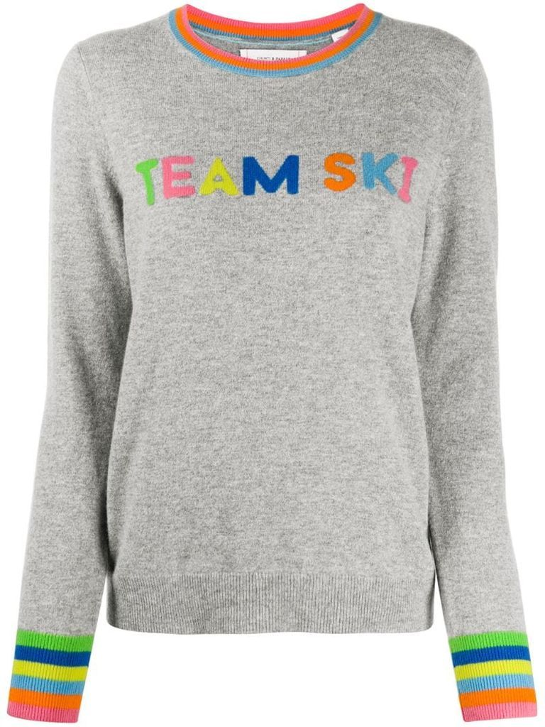 'team Ski' slogan jumper
