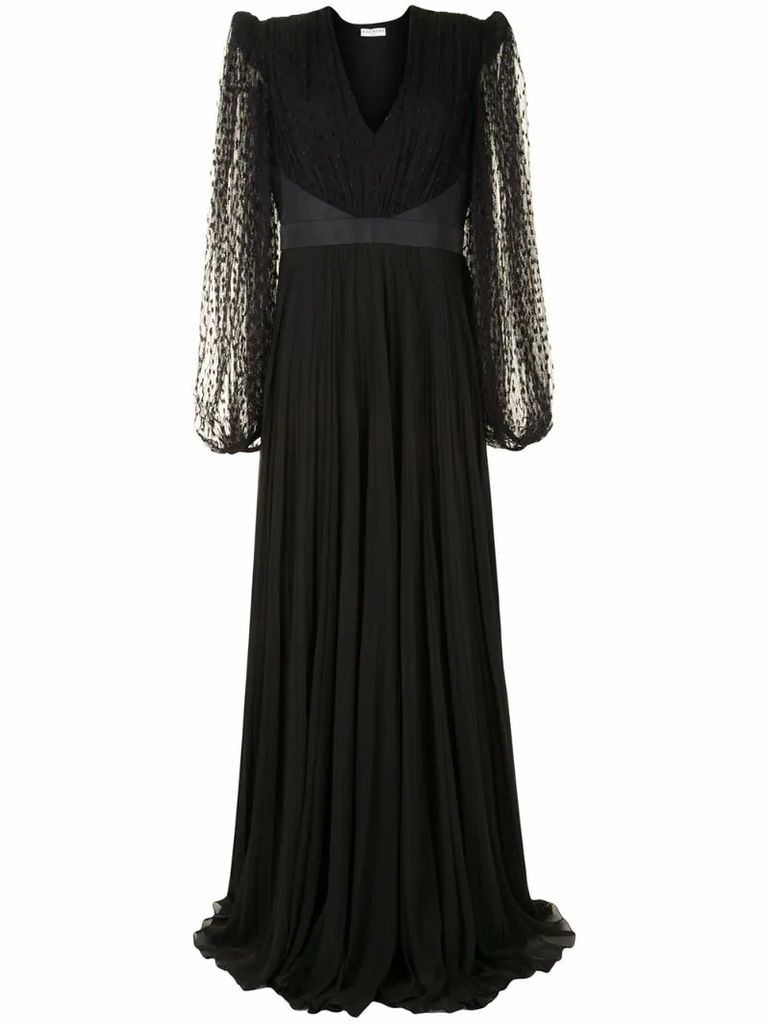 sheer-lace detail dress