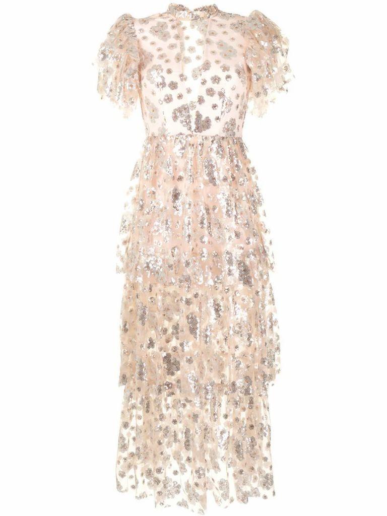 Flutter sequined tiered dress
