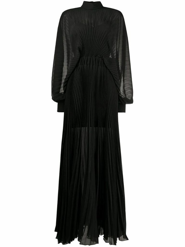 semi-sheer pleated dress