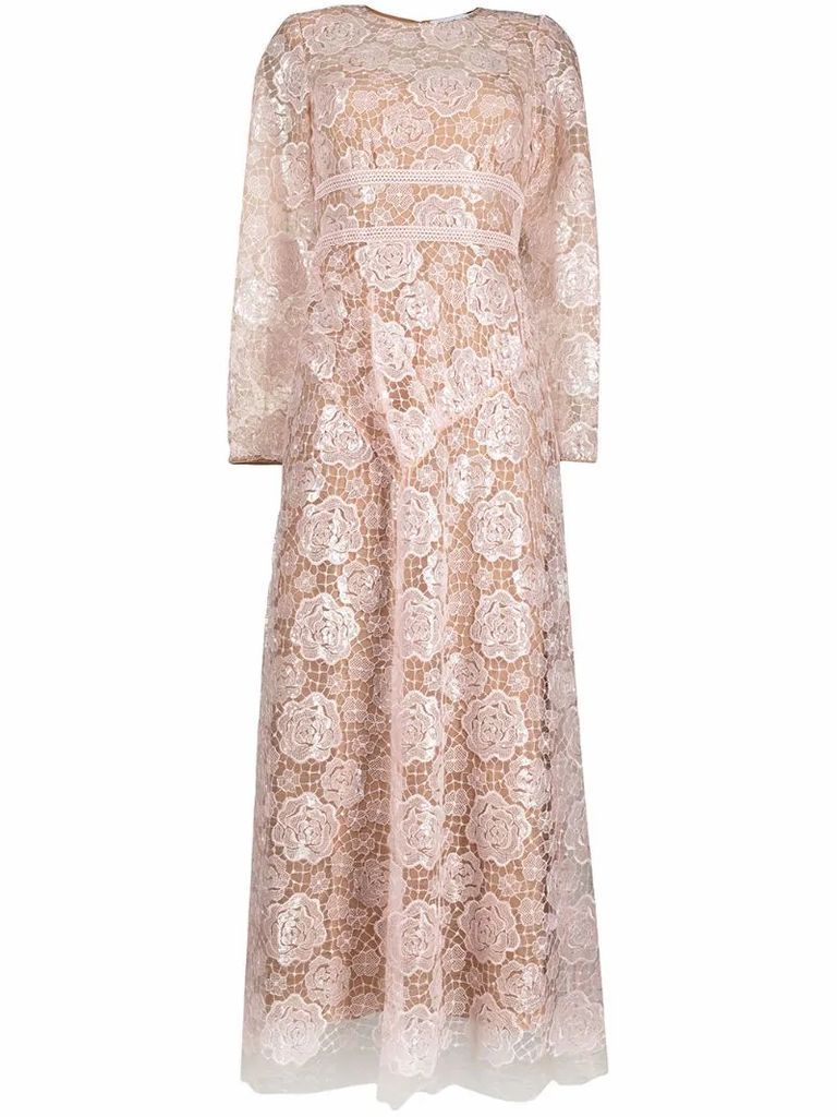 floral-embroidered long-sleeved midi dress
