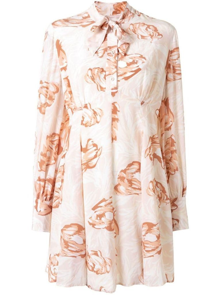 Gardenesque floral-print silk dress