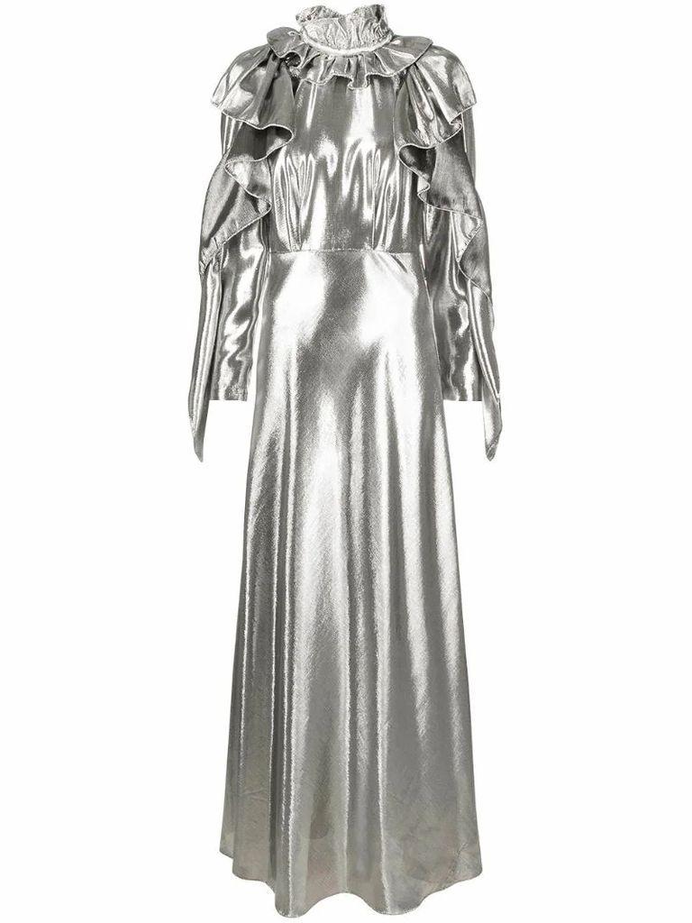 metallic ruffled gown