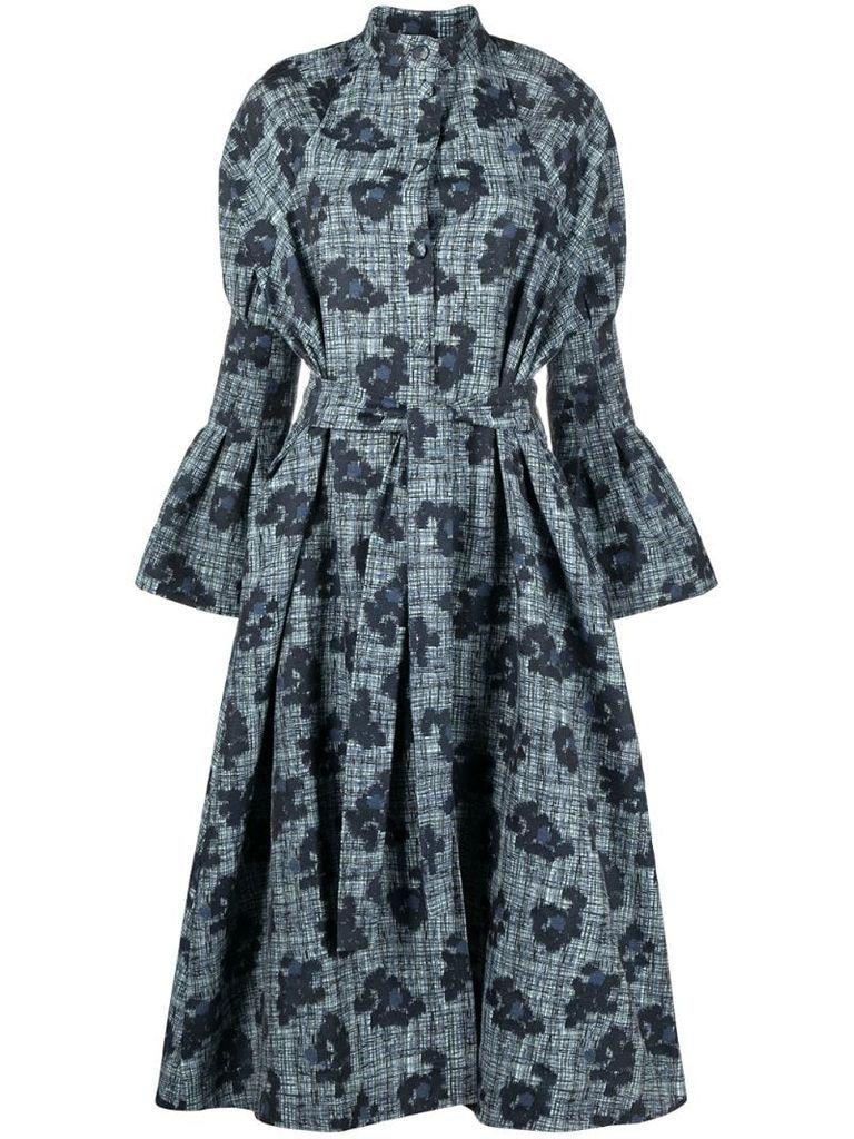 floral-print long-sleeved midi dress