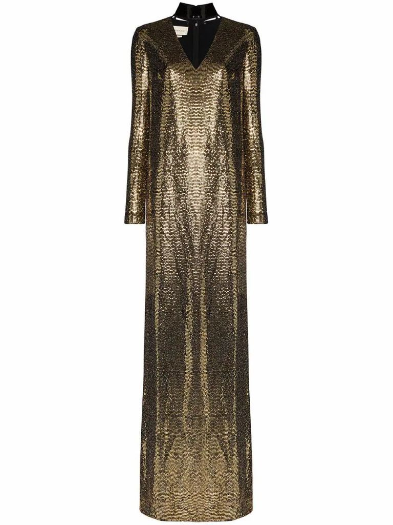 choker cut-out chainmail gown