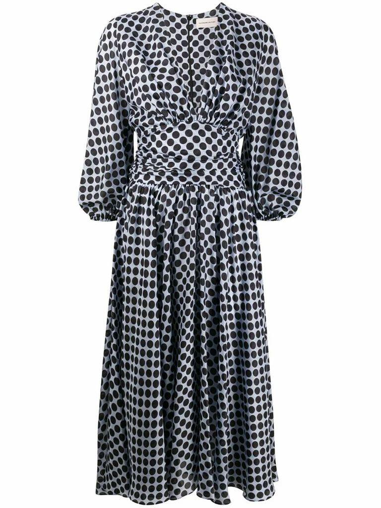 plunge-neck polka-dot print midi dress