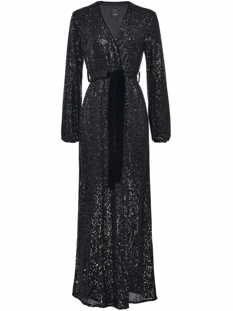 sequined wrap maxi dress