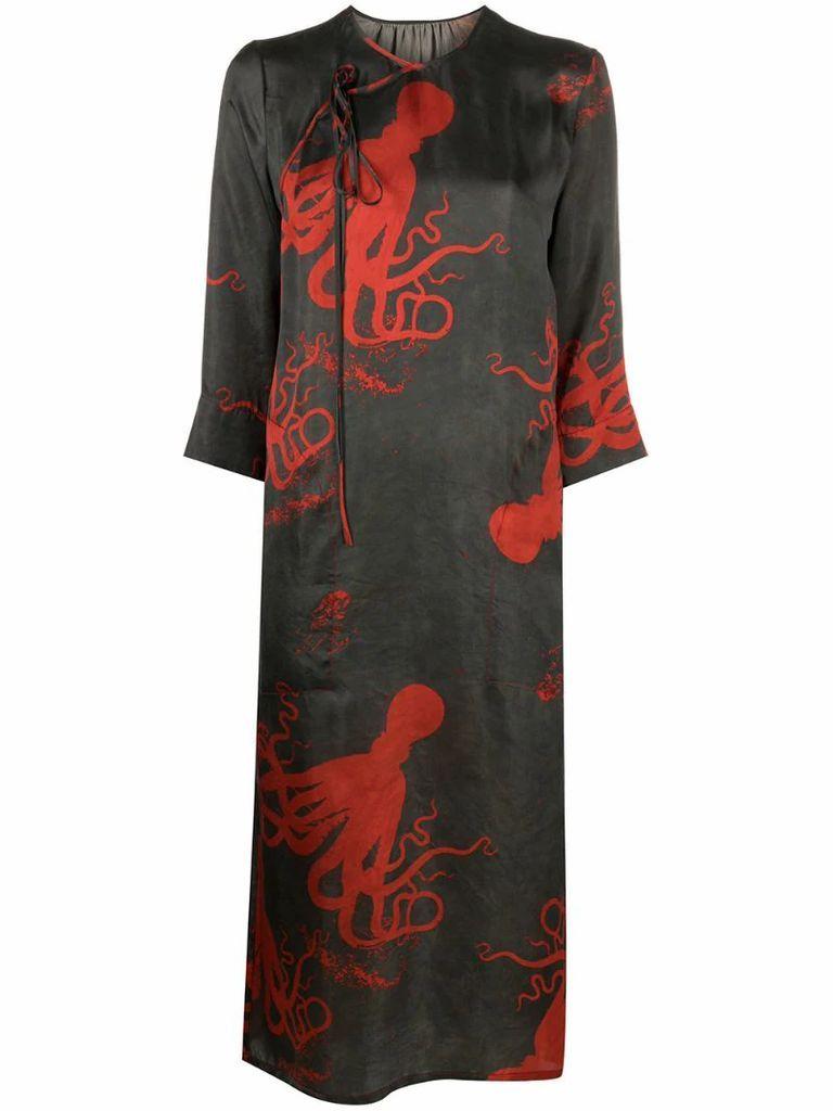 octopus-print wrap dress