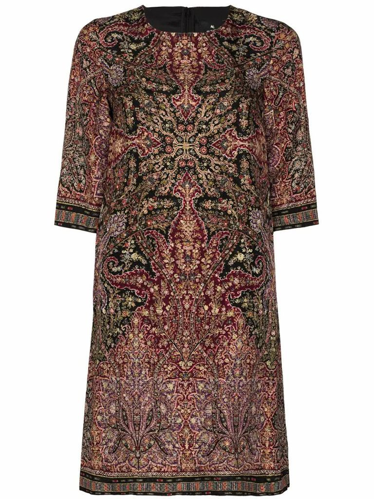 paisley-print shift dress
