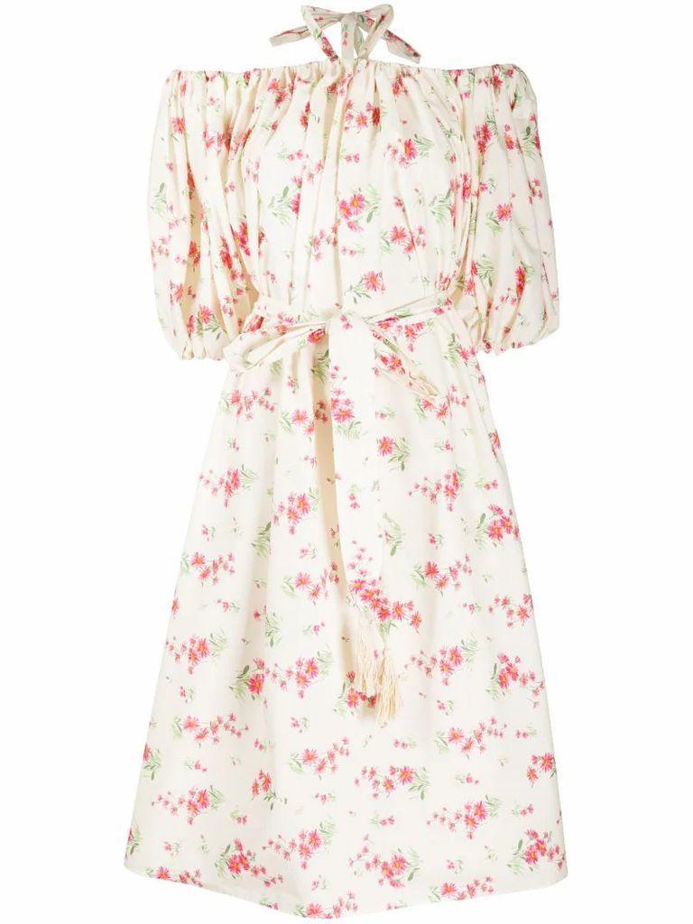 floral print halterneck dress