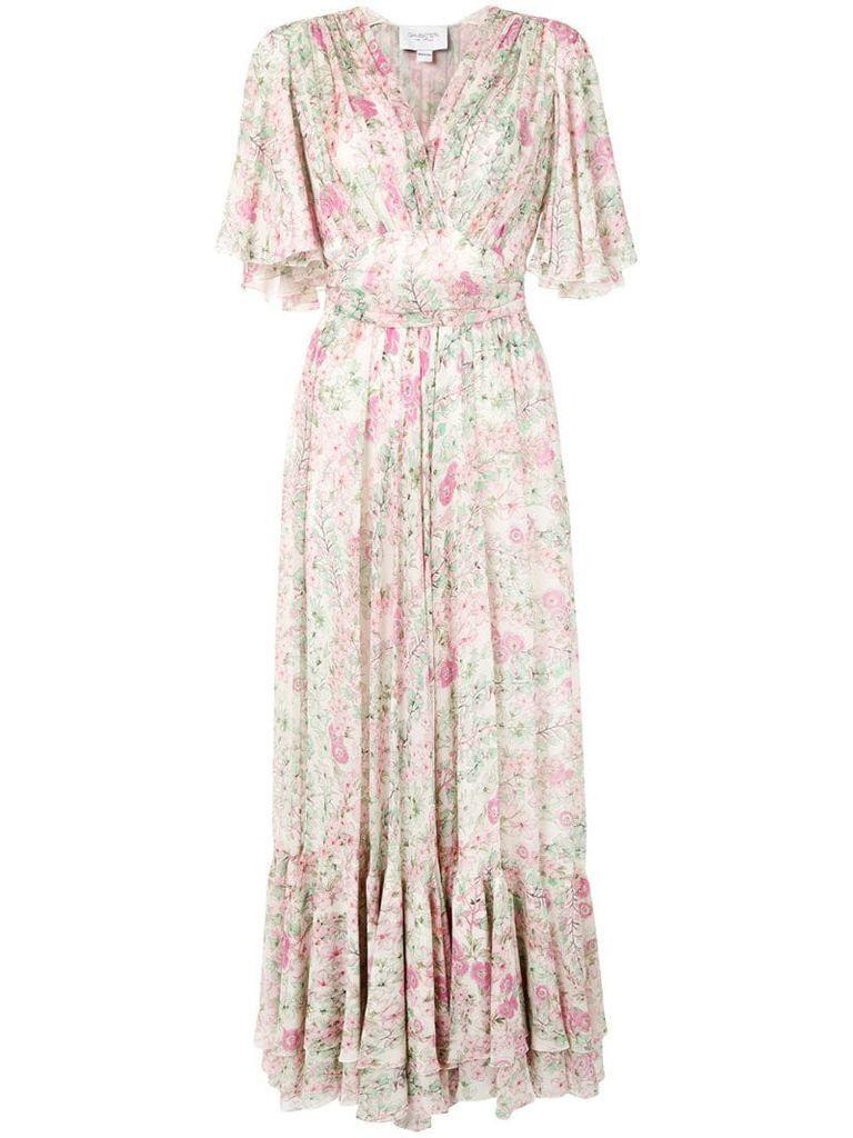 pleated floral-print dress