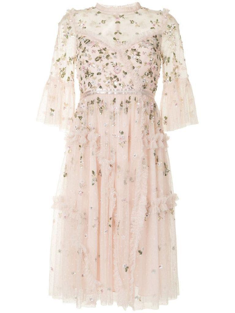 sequin-flower appliqués tulle dress
