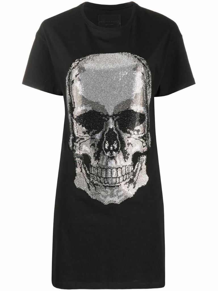 Skull rhinestone T-shirt dress