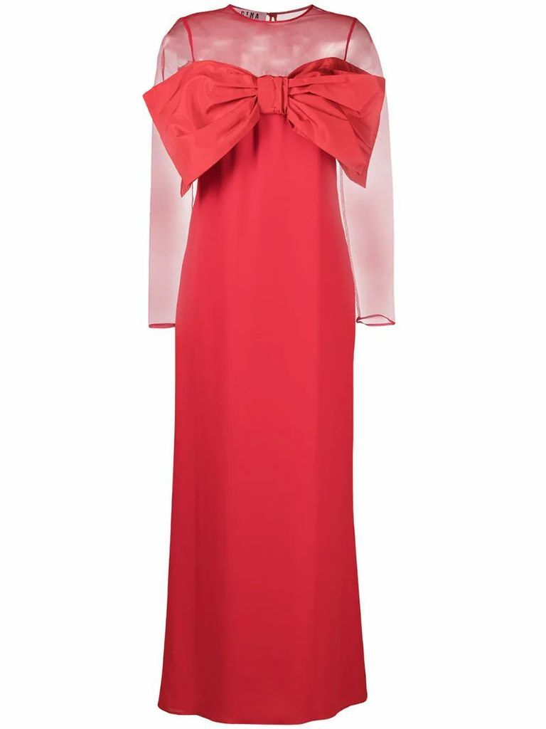 oversized-bow sheer-top evening dress