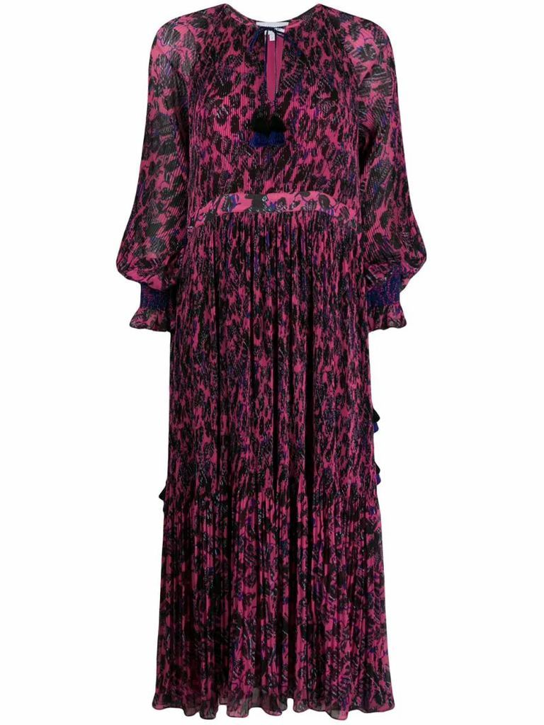 Nemea Pleated Speckled Floral Maxi Dress with Smocking Detail