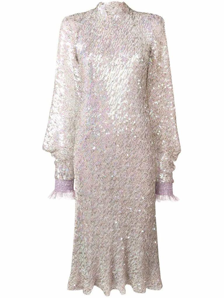 sequinned high neck midi dress