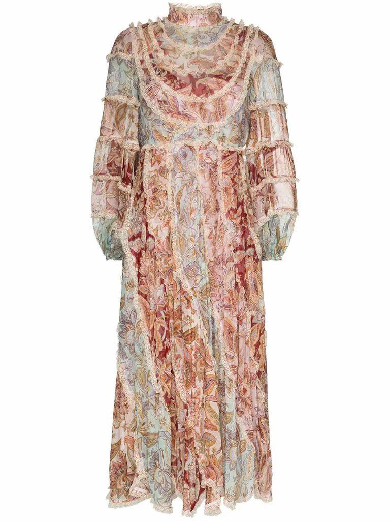 Ladybeetle lace-trim floral-print dress