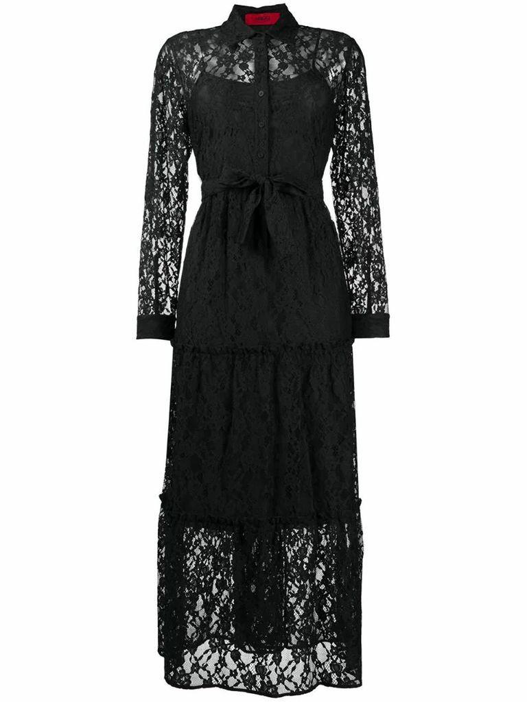 lace layer shirt dress