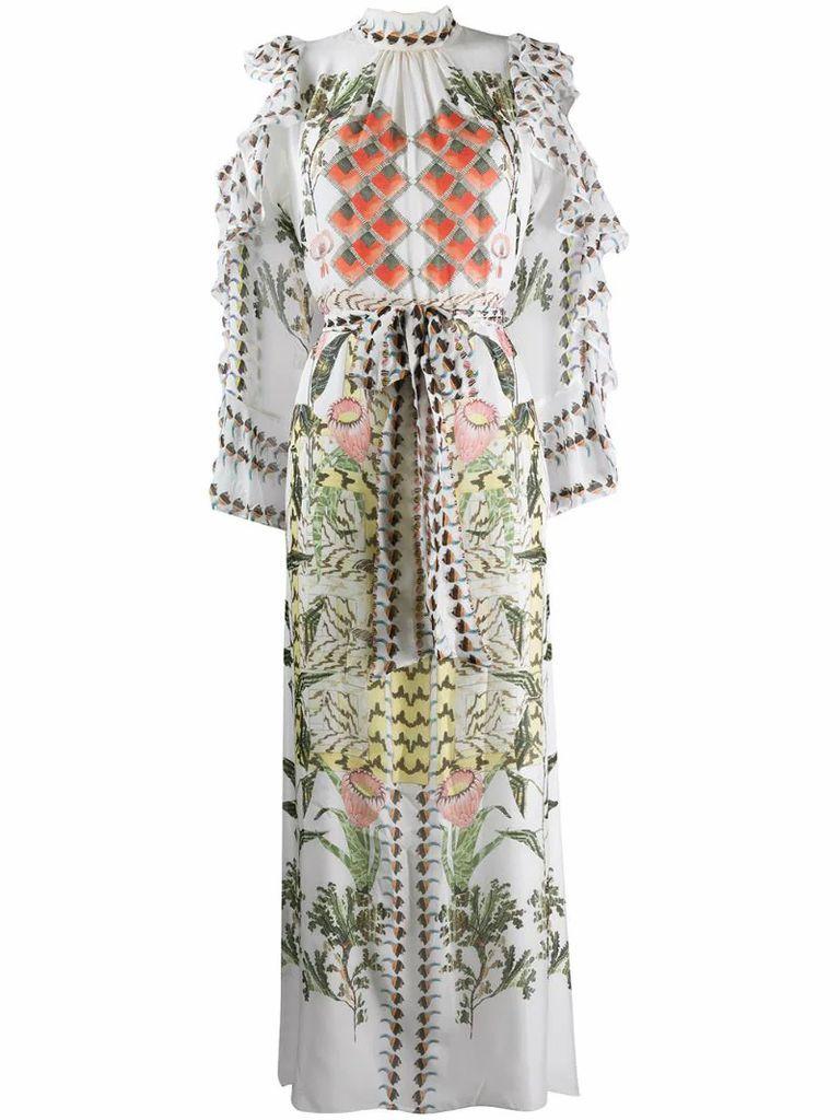 Harmony-print silk dress
