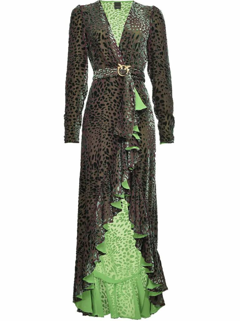 leopard pattern belted evening dress