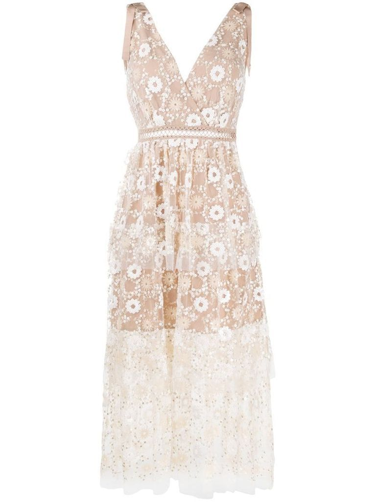 sequin embroidery flared dress
