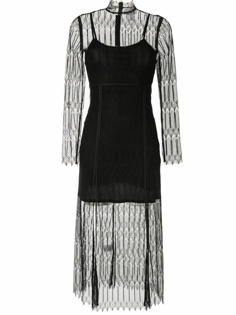 Do Magic lace-overlay midi dress