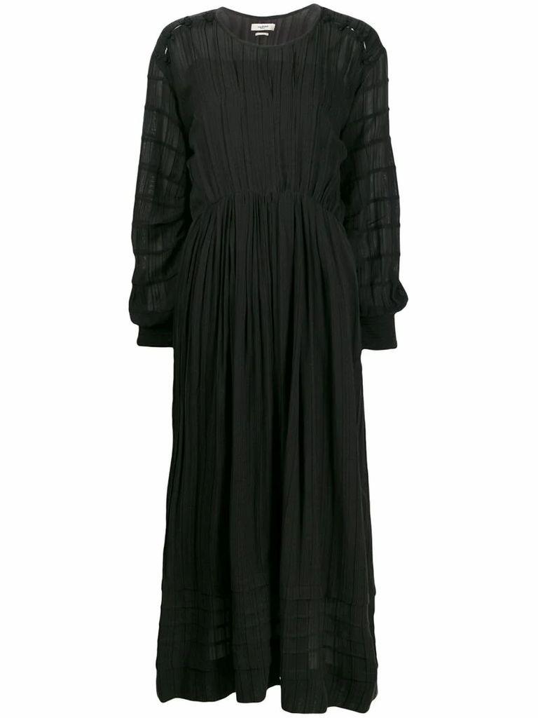 pleated cinched waist dress