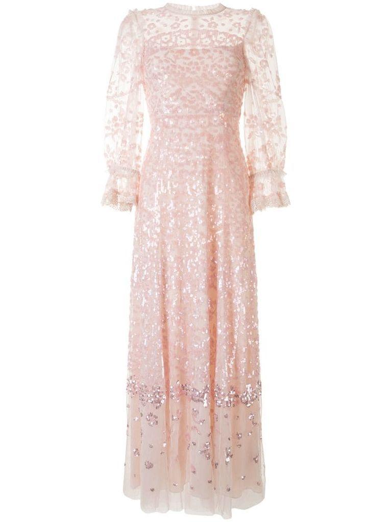 sequin embellished tulle long dress
