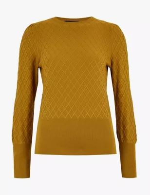 Womens Diamond Stitch Textured Crew Neck Jumper - 6 - Dark Gold, Dark Gold,Navy,Cream,Rich Aqua