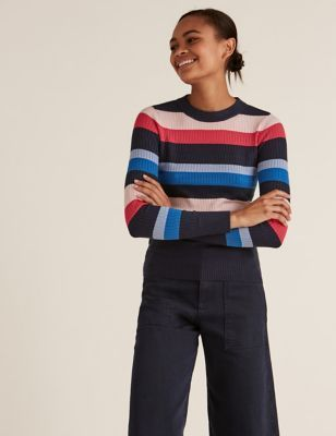 Womens Soft Touch Striped Textured Fitted Jumper - 8 - Navy Mix, Navy Mix