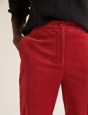 Womens Mia Slim Velvet Ankle Grazer Trousers - 6REG - Dark Red, Dark Red