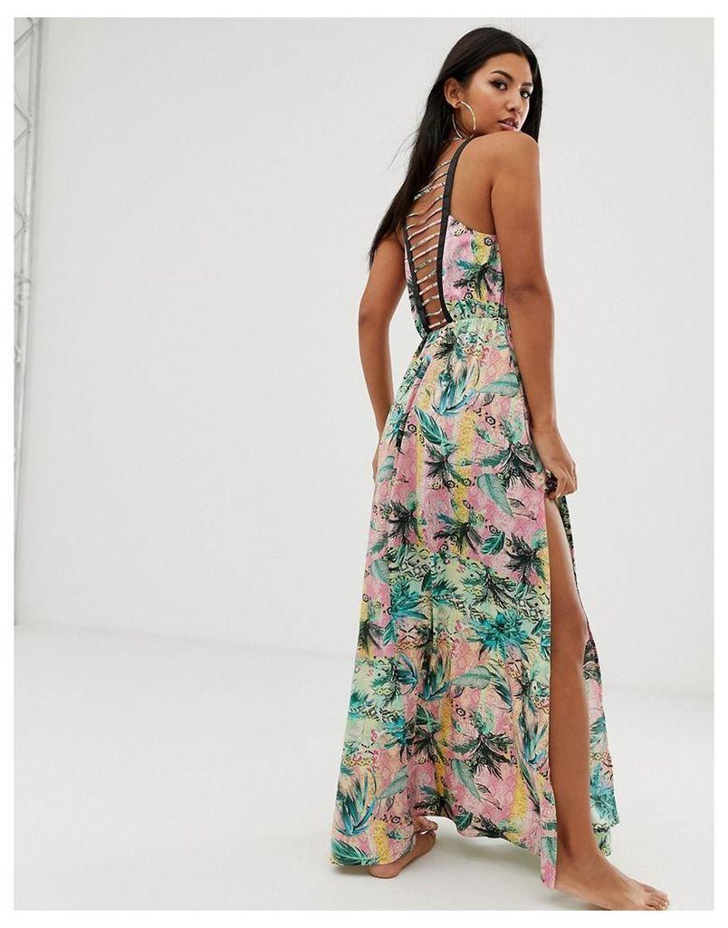 ombre tropical print beach maxi dress with lattice back-Multi