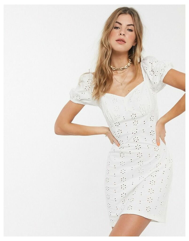 broderie mini sundress with cup seams and puff sleeves in white