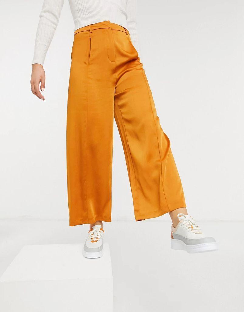 wide leg trousers in rust-Orange