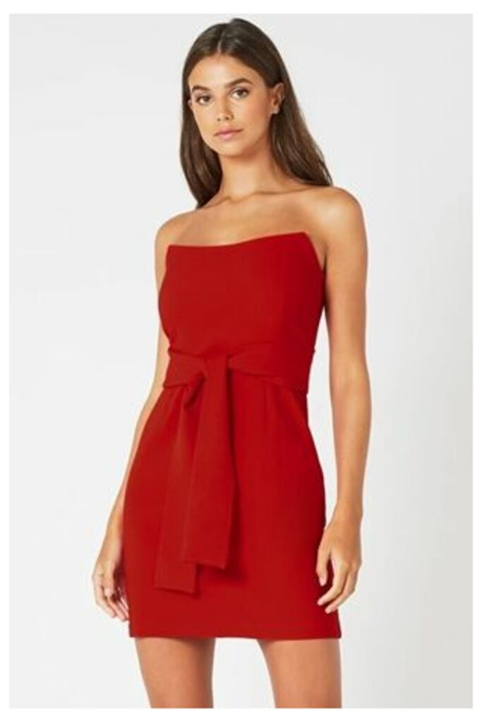 Red Strapless Tie Waist Mini Dress