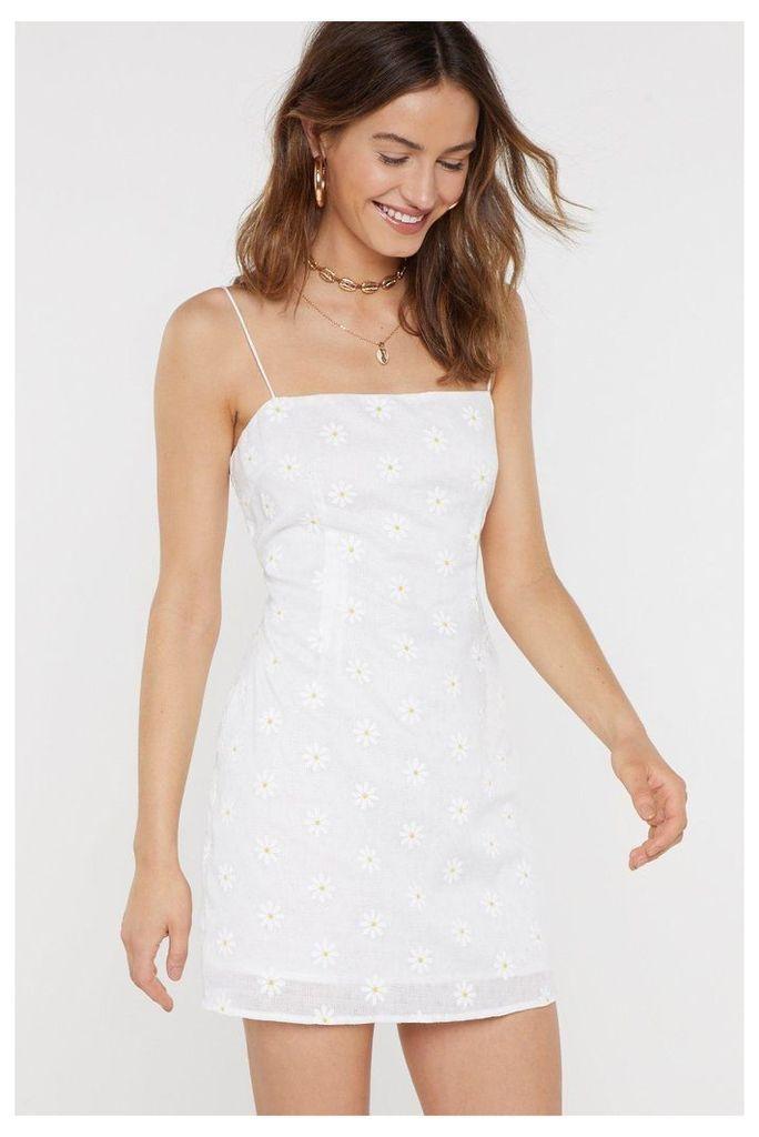 Womens Daisy Square Neck Mini Dress - White - 8, White
