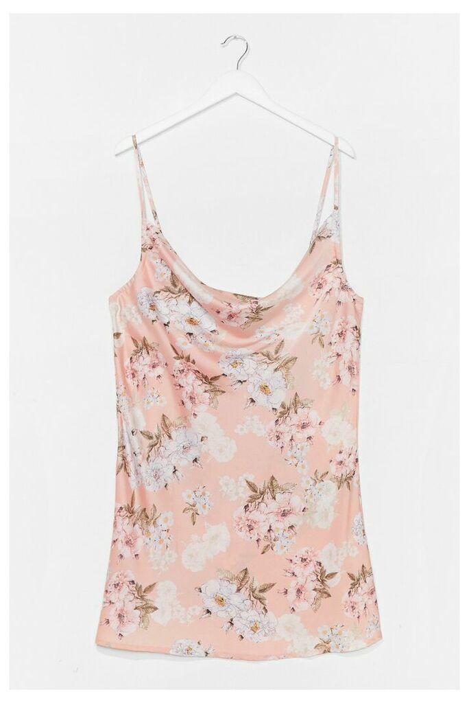 Womens Plus Size Floral Mini Slip Dress - Pink - 24, Pink