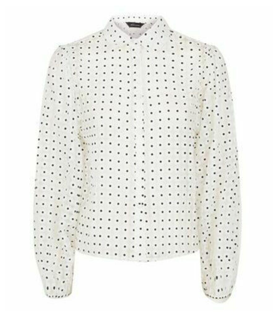 White Daisy Organza Puff Sleeve Shirt New Look