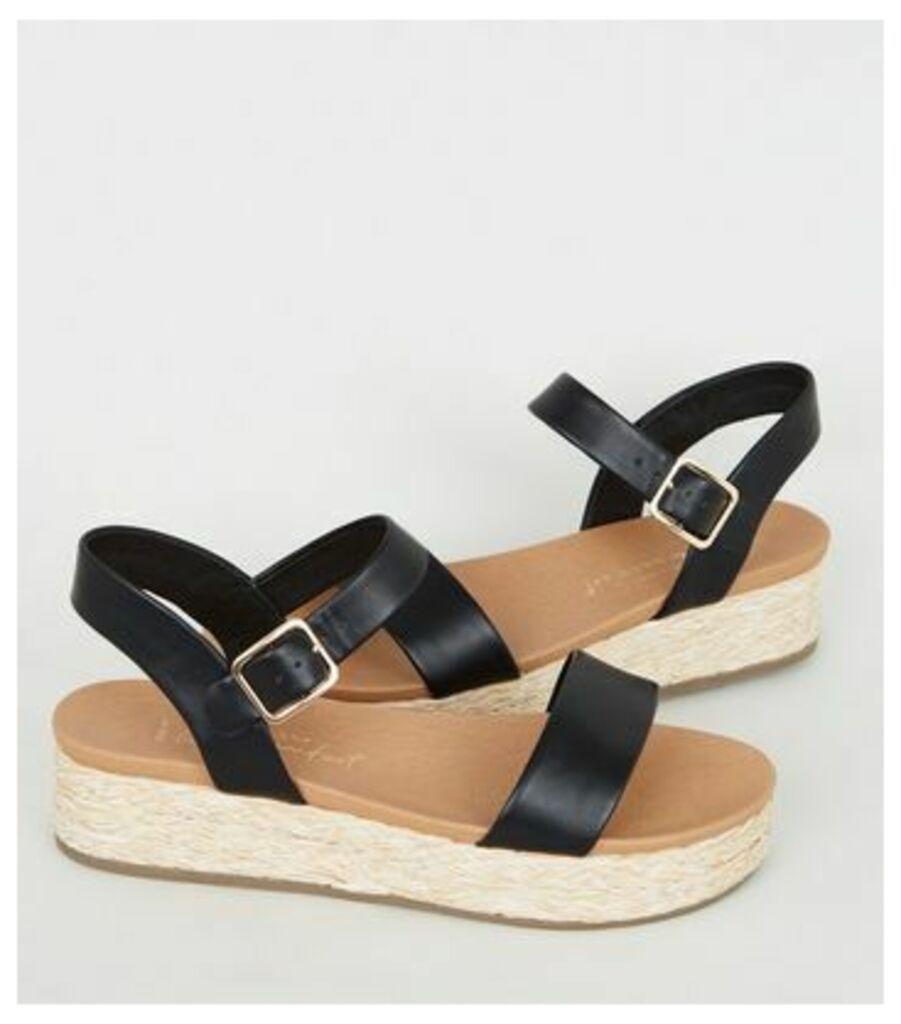 Wide Fit Black Espadrille Footbed Flatform Sandals New Look Vegan