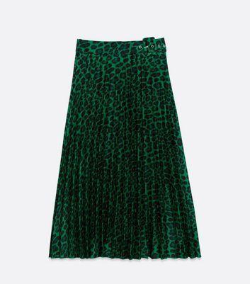 Green Satin Leopard Print Pleated Midi Skirt New Look