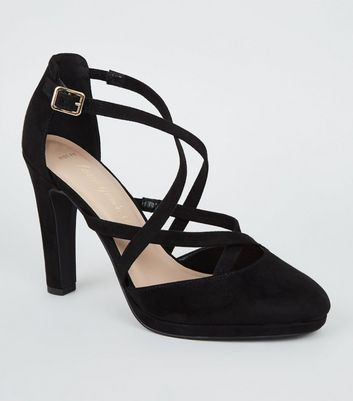 Wide Fit Black Suedette Strappy Court Shoes New Look Vegan